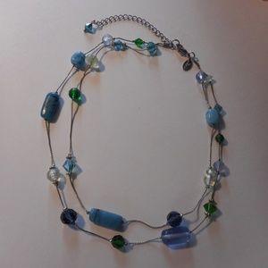 Lia Sophia Blue Green Bead Silver Tone Necklace
